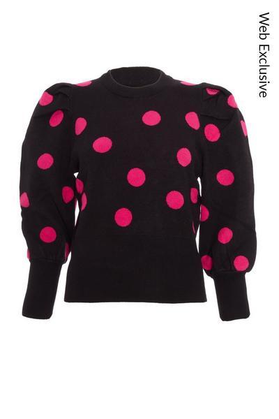 Black & Pink Knitted Polka Dot Jumper